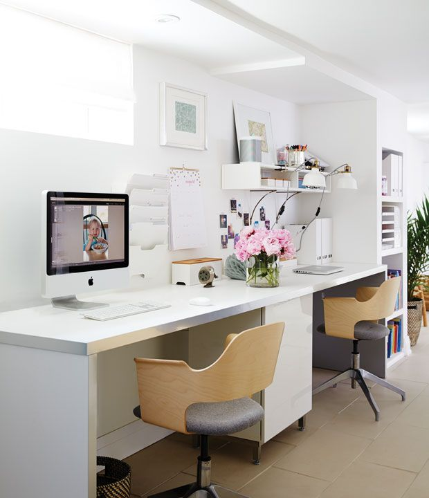 When redesigning her basement home office, designer Sarah Hartill opted to install built-ins for best use of space.