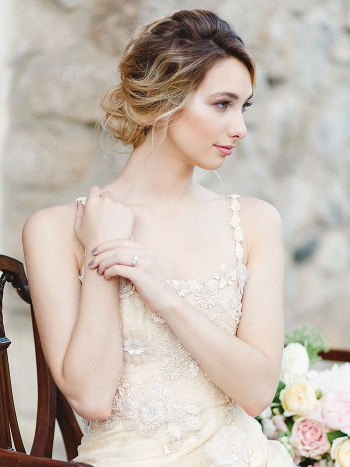 Champagne Embroidered Wedding Dress with a Romantic Bridal Hairstyle    #wedding #weddingideas #engaged #bride #weddingdress #beauty #hairstyle