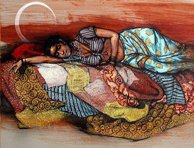 'Sleeping Beauty on Quilt' by Indian Artist 'Ramchandra Kharatmal'