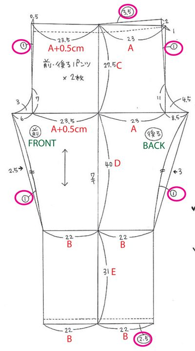 A = (Waist measurement X 1.3) / 4     B = A - (A x 0.05)     C = Waist to crotch     D = Crotch to knee     E = Knee to floor