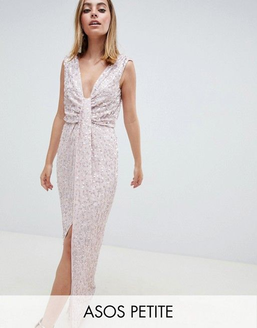 01197a29cf6 DESIGN Petite drape knot front scatter embellished sequin maxi dress in  2019