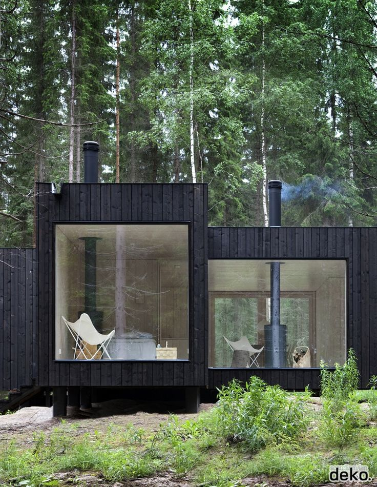 Architect's cozy retreat in Finnish forest. Image via Scandinavian Deco.