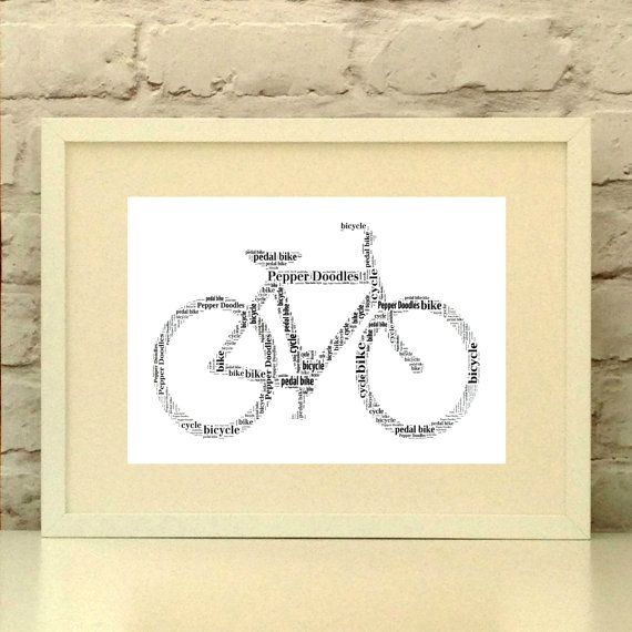 Fathers Day Bike Print Dad Cyclist Print Personalised