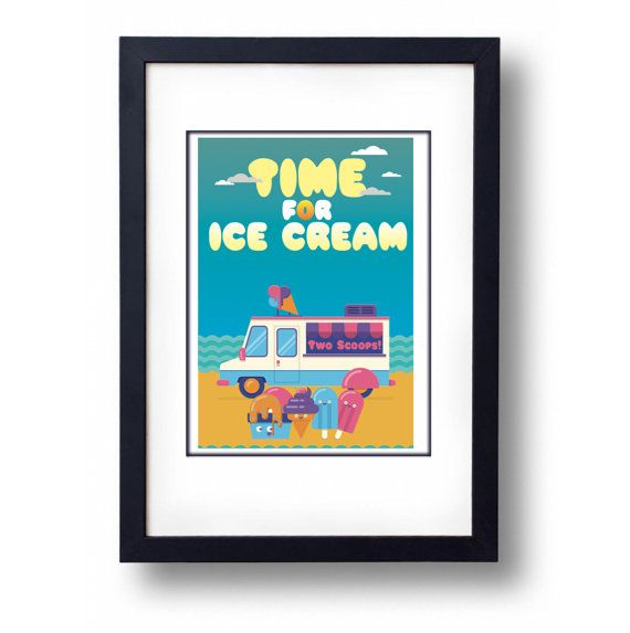 Ice Cream Summer Art Print A3 Print by mammothcreativeworks
