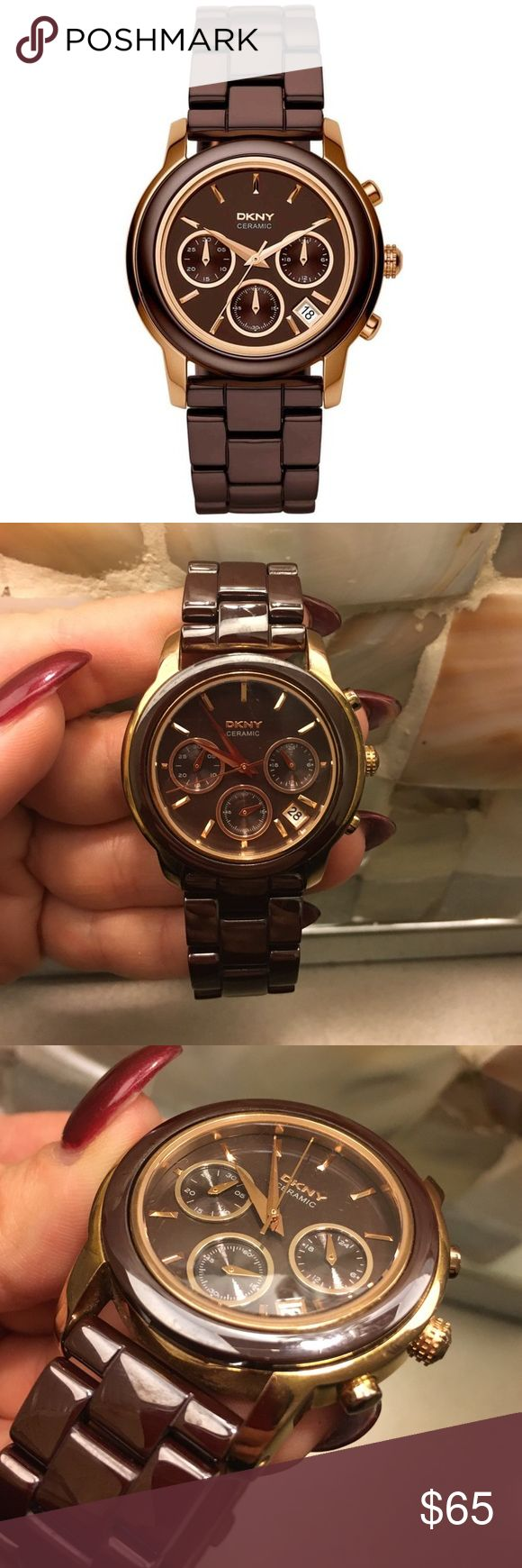 DKNY Women's Brown/ Rose-gold Ceramic Watch ⌚️ DKNY Women's Brown/ Rose-gold Ceramic Watch | Battery Working | No Box | No Extra links | minor marks and scuffs | good condition | no longer sold online DKNY Accessories Watches