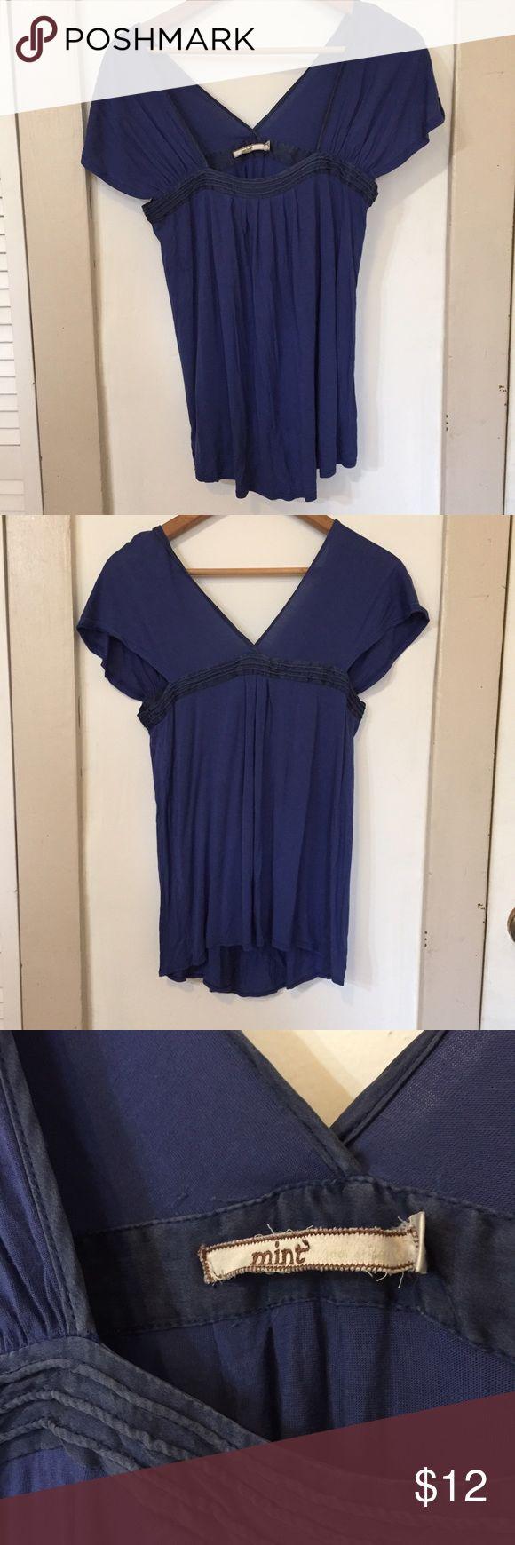 Mint deep blue cap sleeve wrap top Mint deep blue cap sleeve draped wrap top, soft middle weight fabric, contrasting slate blue detailing, EUC. mint Tops Blouses