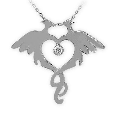 gümüş kolye, kalp kolye, kuş kolye, kalp kuş, doğa, sembol kolye, pırlantalı kolye, elmas