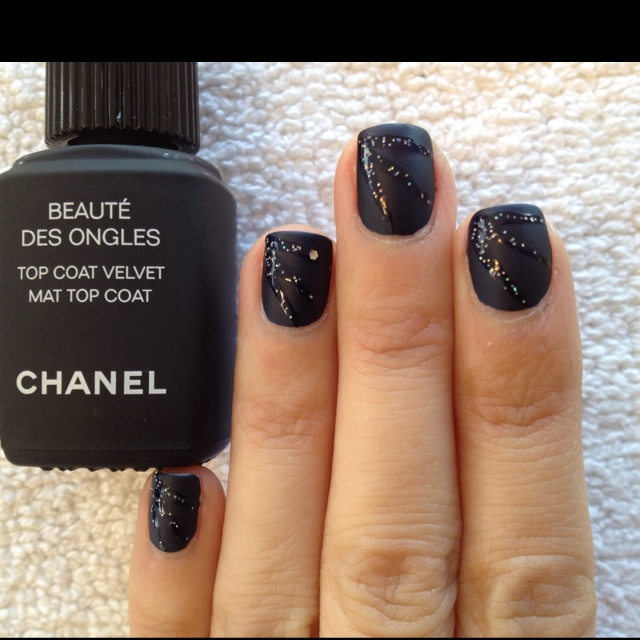 Chanel Velvet Mat Top Coat w. Zoya Ibiza w. glitter design :): Nails Design