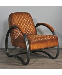 coussin couleur fauve | Fauteuil en cuir vintage marron de couleur fauve pieds en métal gris