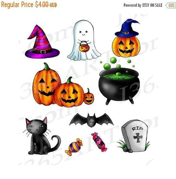 50% OFF Cute Halloween Clipart, Halloween Clip art, Digital, Hand Drawn, Printable, Scrapbooking, Party invitations, Jack-o-Lantern, Ghost by I365art
