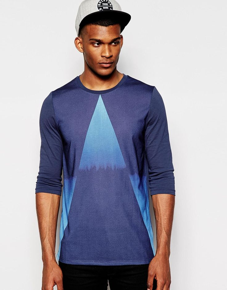 ASOS+3/4+Sleeve+T-Shirt+With+Dip+Dye+Triangle+Print