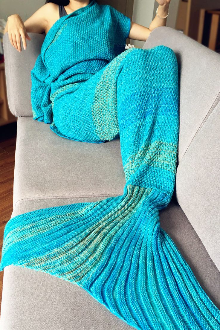 $19.61 Fashion Colorful Stripe Pattern Mermaid Tail Shape Blanket For Adult