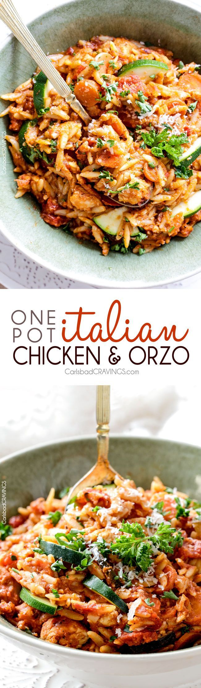 ONE POT Italian Chicken and Orzo (and veggies!) in a creamy Parmesan tomato sauce on your table in almost 30 minutes and all made in one pot! via @carlsbadcraving