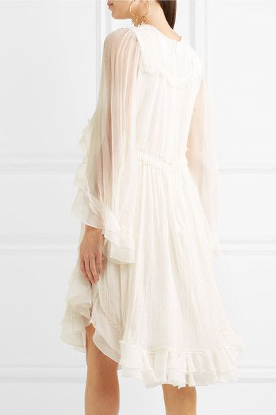 Chloé - Exclusive Ruffled Crocheted Lace-paneled Silk-crepon Mini Dress - White - FR