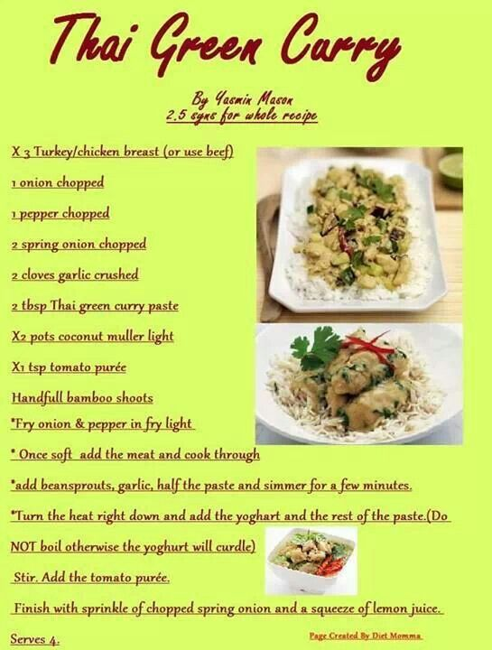 thai green curry slimming world style