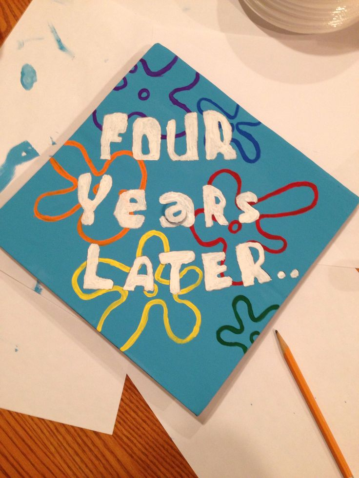 My boyfriend did this for my sister's high school graduation cap! Spongebob lives on :)