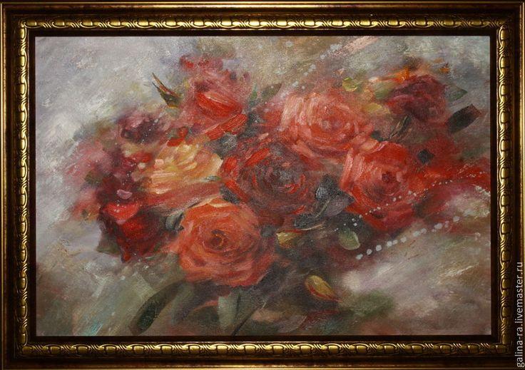 """Купить Картина маслом """" Розовая мечта"""" - розы ручной работы, маслянная живопись"""
