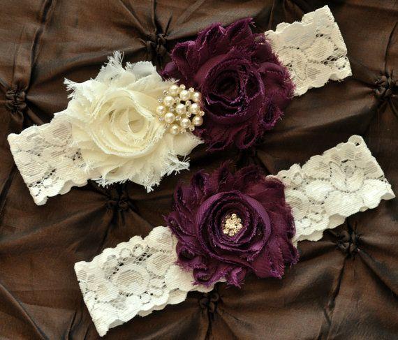 Garter Wedding, Garter Bridal - Ivory Lace Garter, Keepsake Garter, Toss Garter, Shabby Chiffon Rosette Ivory Plum Wedding Garter Set on Etsy, $22.00