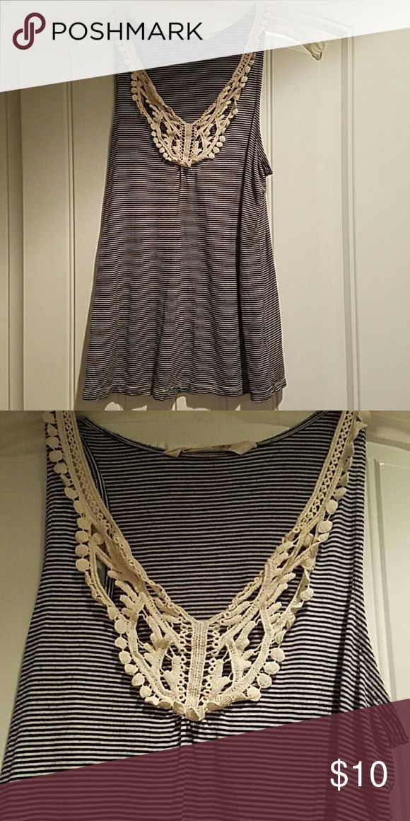Blue and white top Blue and white striped top with lace detail around v-neck. Old Navy Tops Tank Tops