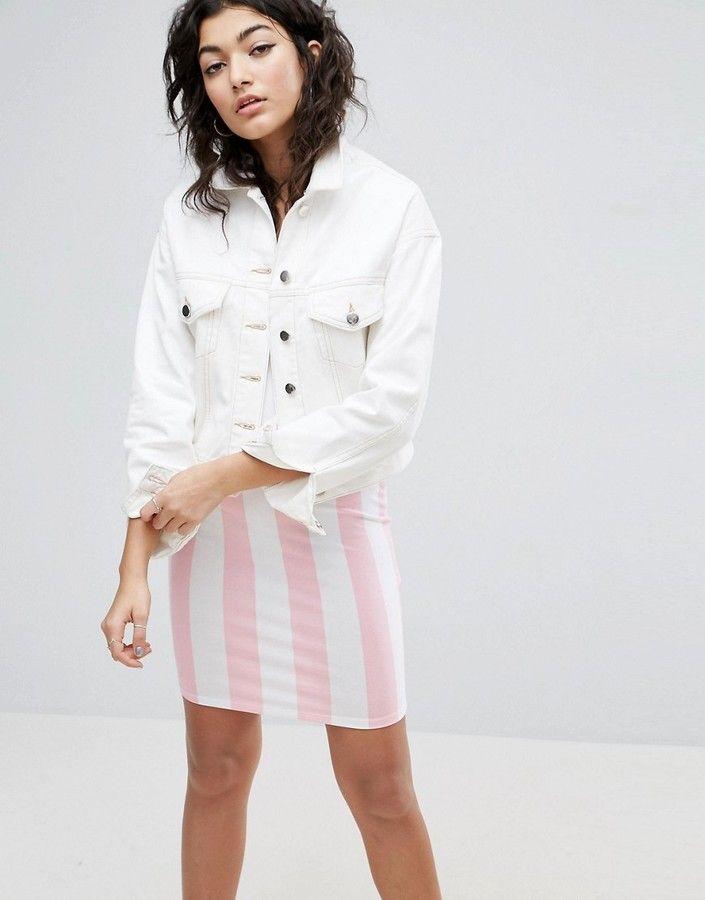 Asos Denim Cropped Boxy Jacket in White