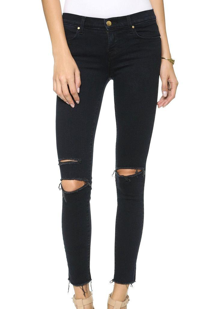 Black Skinny Ripped Jeans #genuine-people