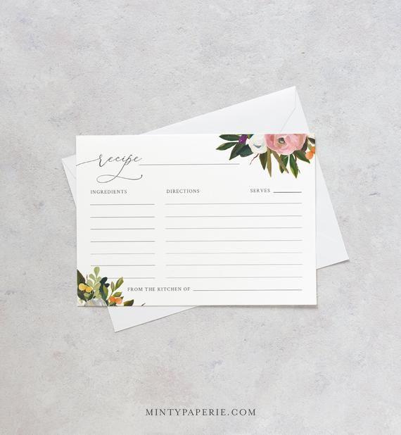 Floral Recipe Card Template Summer Bridal Shower Insert Etsy Floral Recipe Cards Recipe Cards Template Bridal Shower Recipes Cards
