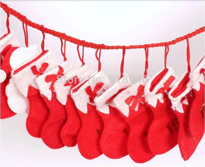Новогодние украшения 24 Рождественские чулки Октаэдрическое Бантинг Потяните Флаги Расходные материалы для дома