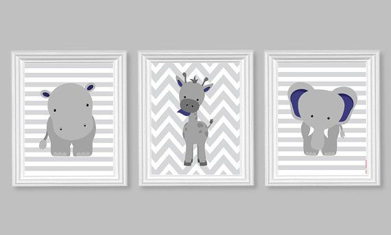 Nursery Decor, Elephant Nursery Art, Grey and Navy, Baby Nursery Decor, Baby Room Decor, Giraffe, Chevron, Hippo, Zoo Nursery Jungle Decor