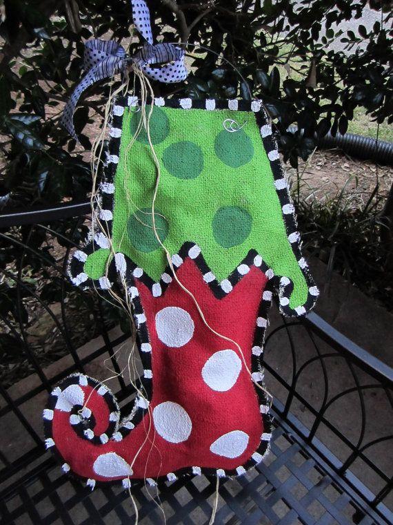 Burlap Stocking!!!: Stockings Hands, Hands Paintings, Doors Decor, Stockings Burlap, Christmas Stockings, Christmas Decor, Paintings Burlap, Christmas Ideas, Burlap Doors Hangers