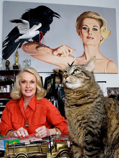 tippi hedren (clearly she adopted a cat to get rid of all those birds, right?)