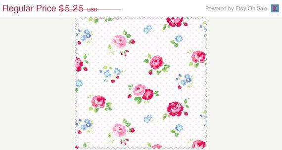 ON SALE Pam Kitty Garden  Pink Roses 14019B-Pin by OakHillFabrics