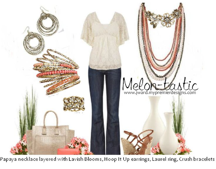 Premier Designs 2014 - Lavish Blooms layered with Papaya necklace, Hoop It Up earrings, Crush bracelets, Laurel ring
