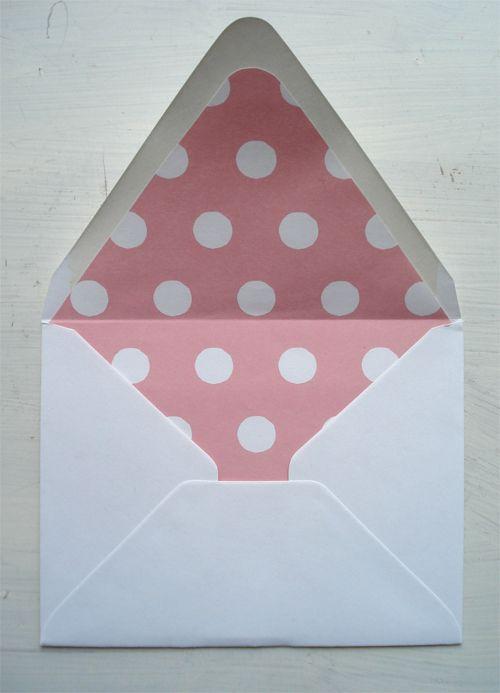 pink polka dot envelope liner