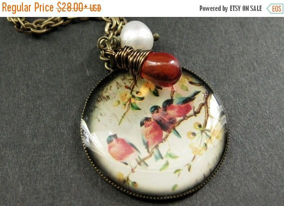 EASTER SALE Bird Family Necklace. Bird Necklace. Bird Pendant with Wire Wrapped Teardrop and Pearl. Handmade Jewelry. by TheTeardropShop from The Teardrop Shop. Find it now at http://ift.tt/1iQC2gW!