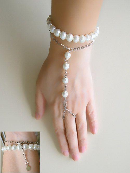 wedding Slave Bracelet bridal Pearl Jewelry Weddings by selenayy