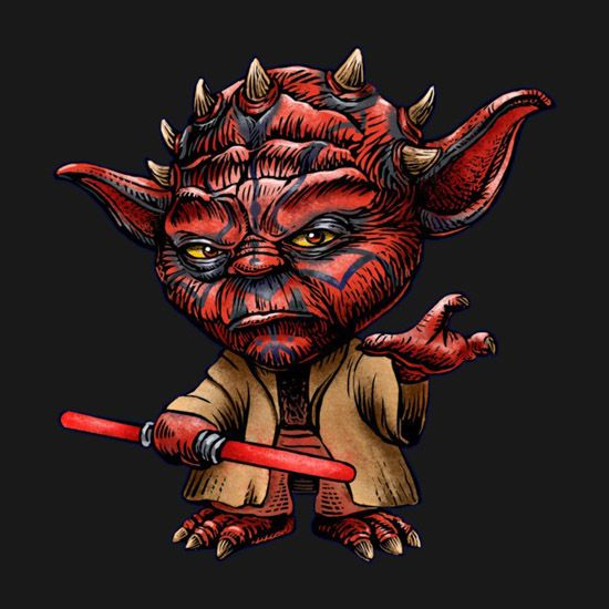 Jedi Master Yoda and the evil Darth Maul come together for a startling portrait on the Star Wars Darth Yoda T-Shirt.  Artist ChetArt has created a disturbance in the Force, merging together two iconic Star Wars characters on this tee, with Darth Maul and Yoda creating someone so evil that even
