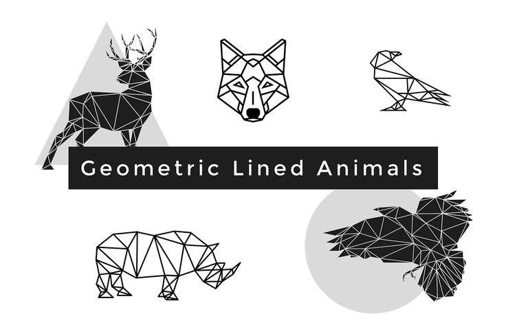 Geometric Lined Animals | Vectors by GoaShape on @creativemarket