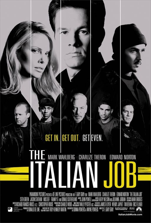 The Italian Job (2003) Mark Wahlberg, Charlize Theron, Donald Sutherland, Jason Statham. Charlie Croker is a clever thief who masterminds a major heist amid the waterways of Venice, Italy -- but a betrayal by one of his own spells disaster. Returning to Los Angeles without the stash, Croker reassembles his crew and plots revenge..1