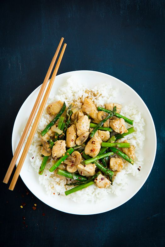 Ginger Chicken Stir-Fry with Asparagus - Easy to make and ready in under 30!