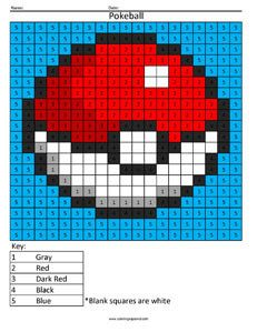 Pokeball Pokemon Color by Number