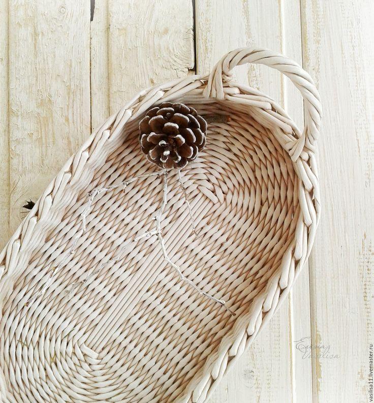 Купить Поднос плетеный 'Cветлый Праздник' - белый, плетеный поднос, овальный подносик, небольшой поднос