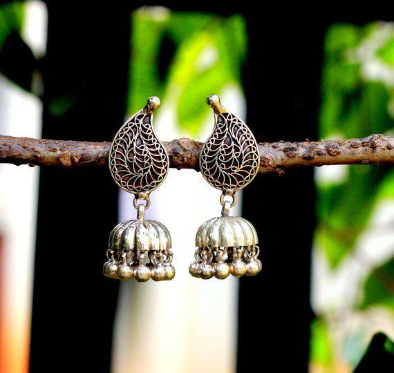 Sterling Silver Jhumka , Jumki,  Dome Shaped Dangle Chandelier Earring