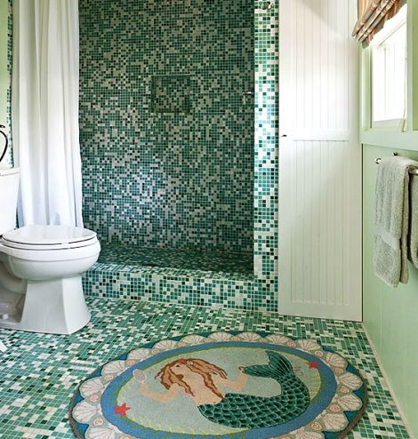 Nautical cottage bathroom coastal bathrooms pinterest mermaids nautical and rugs - Mermaid decor bathroom ...