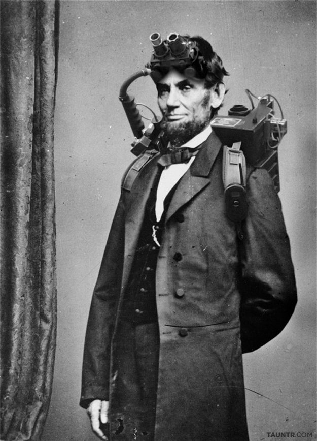 An extremely rare photograph of President Abraham Lincoln taken during his brief yet memorable stint as a paranormal investigator and eliminator circa 1864.~ how cool is that??