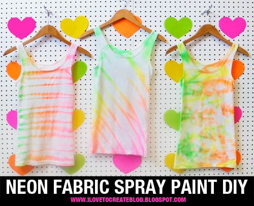 Neon Fabric Spray Paint Shirt DIY   Video Tutorial: http://ilovetocreateblog.blogspot.com/2012/08/neon-fabric-spray-paint-shirt-diy-video.html