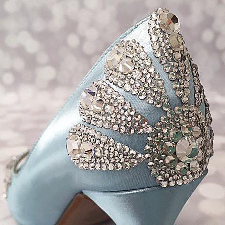 Blue Wedding Shoes Crystal Heel Vintage by EllieWrenWeddingShoe