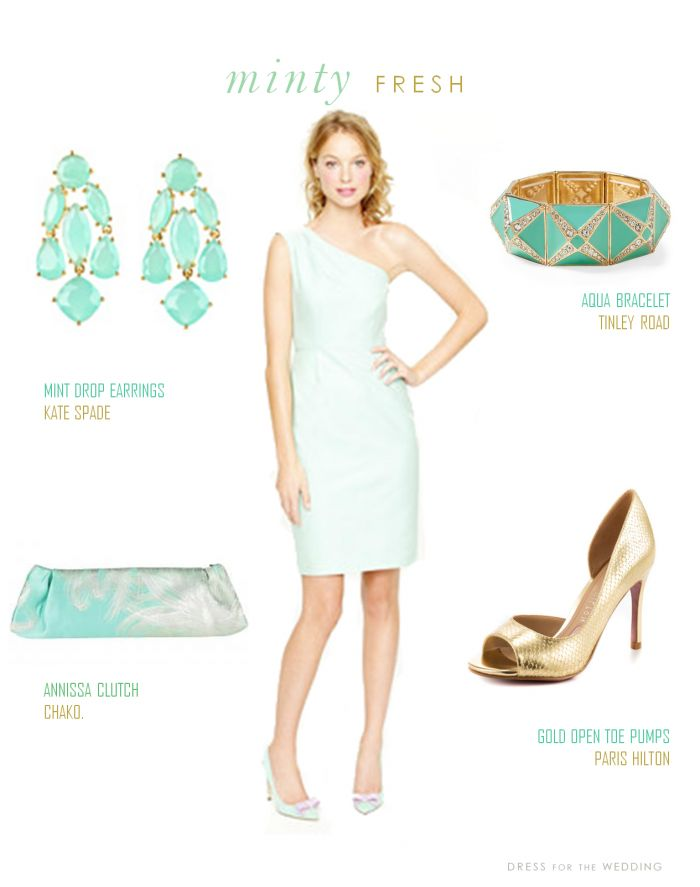 Mint Bridesmaid Dress with accessories