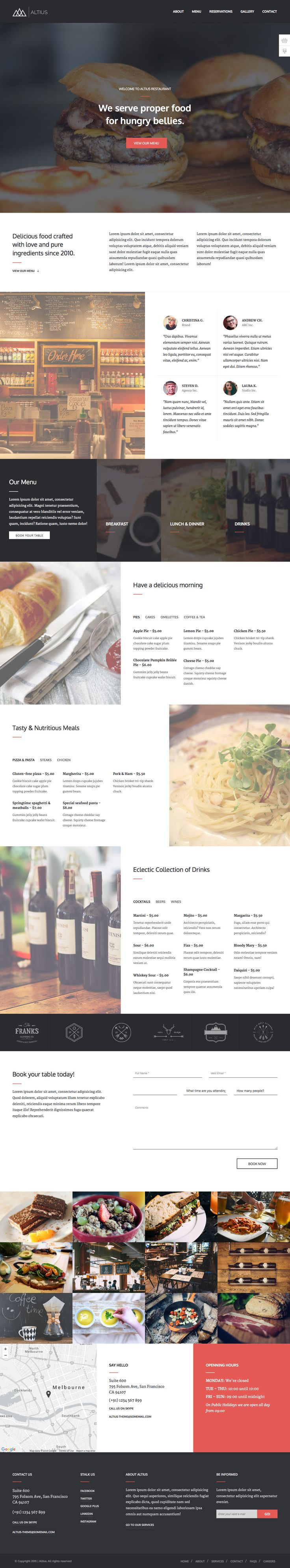 Altius - One Page Restaurant HTML Template #website #web #onepage #webdesign #restaurant #food