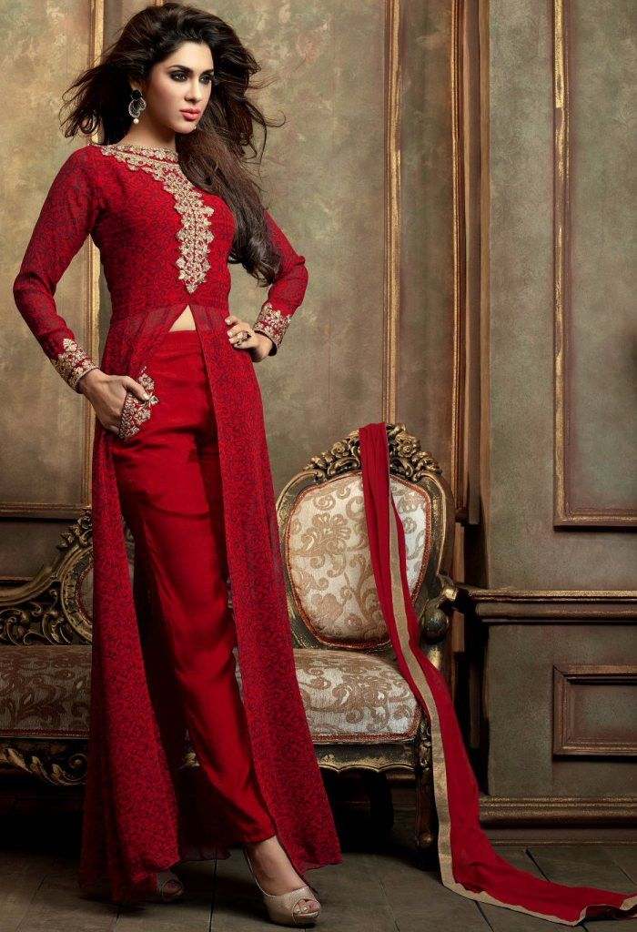 Red Designer Georgette Salwar Kameez With Embroidery Work...