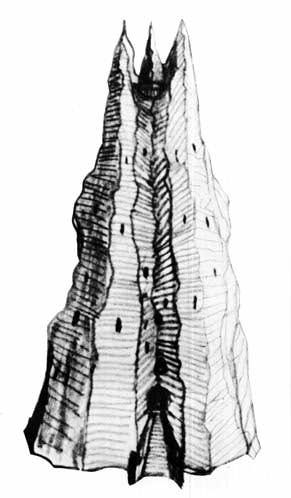 Orthanc, the tower of Isengard, is one of several different conceptions sketched by J.R.R. Tolkien